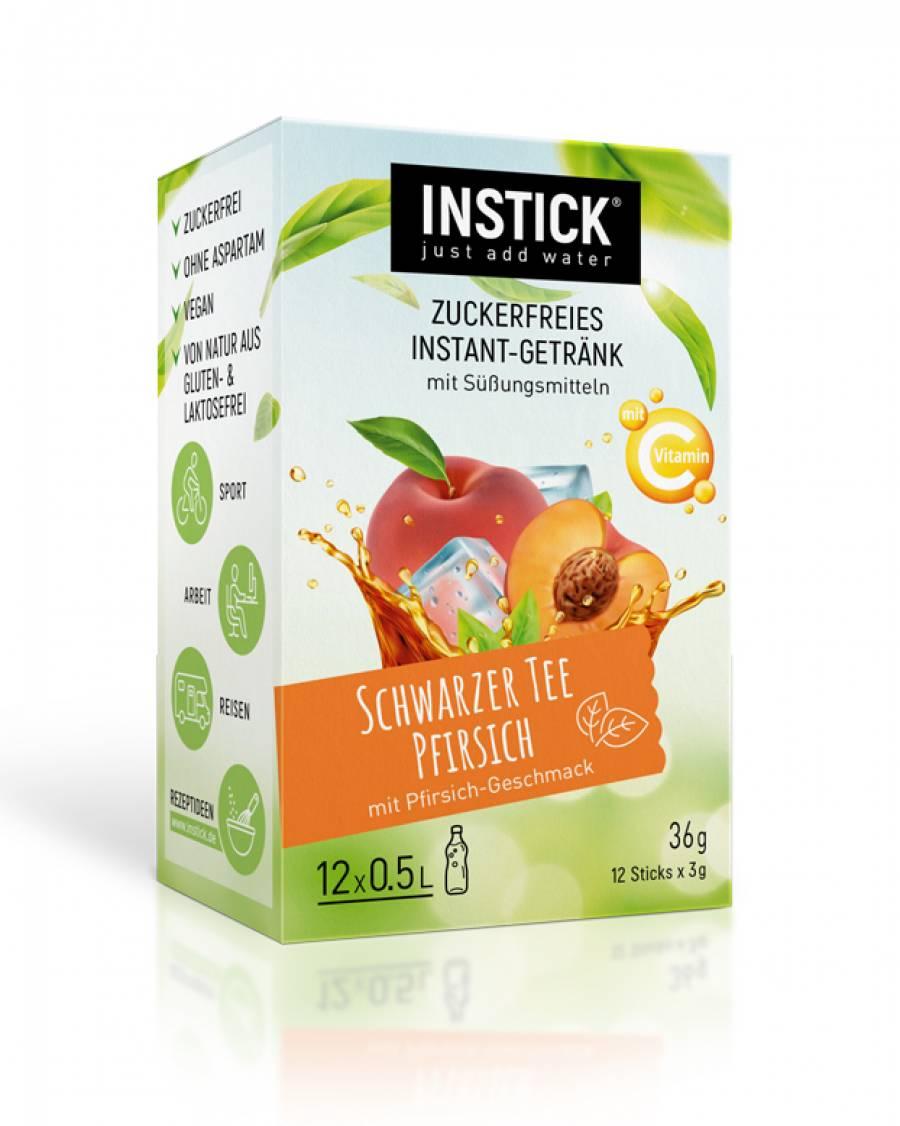 INSTICK Schwarzer Tee Pfirsich / Eistee Pfirsich 12-er Packung (für 12 x 0,5 L)