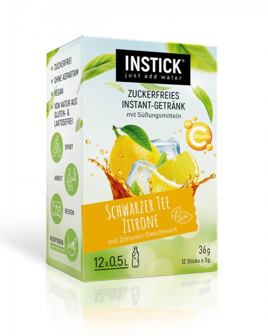INSTICK Schwarzer Tee Zitrone / Eistee Zitrone 12-er Packung (für 12 x 0,5 L)
